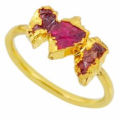 4.07cts natural tourmaline raw fancy 14k gold handmade ring size 8 r70738