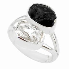 10.02cts natural tourmaline raw herkimer diamond 925 silver ring size 7 t21033