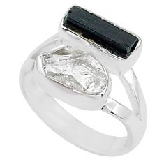 9.18cts natural tourmaline raw herkimer diamond 925 silver ring size 7 t9925