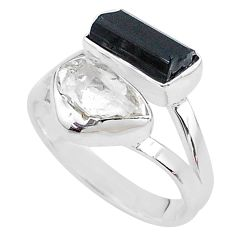 9.18cts natural tourmaline raw herkimer diamond 925 silver ring size 8 t9924