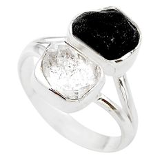 10.31cts natural tourmaline raw herkimer diamond 925 silver ring size 9 t21021