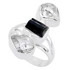 12.99cts natural tourmaline raw herkimer diamond silver ring size 7 t37703