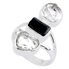 12.85cts natural tourmaline raw herkimer diamond silver ring size 7 t37714