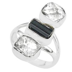 13.41cts natural tourmaline raw herkimer diamond silver ring size 7 t37720
