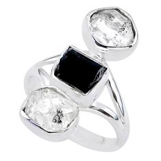 13.55cts natural tourmaline raw herkimer diamond silver ring size 8 t37701