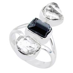 13.27cts natural tourmaline raw herkimer diamond silver ring size 8 t37715