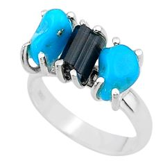 7.91cts natural tourmaline rough raw turquoise silver ring size 7 t15062