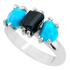 8.73cts natural tourmaline rough raw turquoise silver ring size 9 t15066