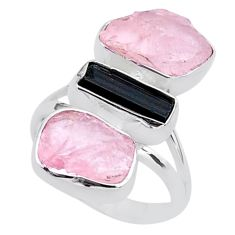 13.87cts natural tourmaline raw rose quartz rough silver ring size 7 t37795