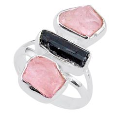 14.40cts natural tourmaline raw rose quartz rough silver ring size 7 t37799