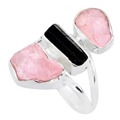 14.40cts natural tourmaline raw rose quartz rough silver ring size 8 t37761