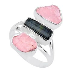14.01cts natural tourmaline raw rose quartz rough silver ring size 8 t37788