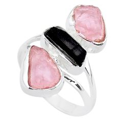 13.85cts natural tourmaline raw rose quartz rough silver ring size 9 t37764