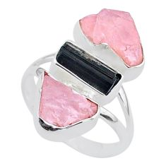 15.39cts natural tourmaline raw rose quartz rough silver ring size 9 t37789
