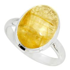 12.85cts natural tourmaline rutile 925 silver solitaire ring size 14.5 r26231