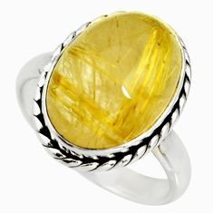13.90cts natural tourmaline rutile 925 silver solitaire ring size 11.5 r26238