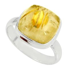5.87cts natural tourmaline rutile 925 silver solitaire ring size 8.5 r39365