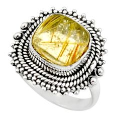 5.52cts natural tourmaline rutile 925 silver solitaire ring size 7.5 r52603