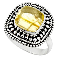 5.34cts natural tourmaline rutile 925 silver solitaire ring size 7.5 r52606