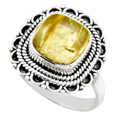 5.59cts natural tourmaline rutile 925 silver solitaire ring size 7.5 r52607