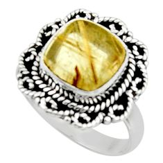 5.26cts natural tourmaline rutile 925 silver solitaire ring size 8.5 r52609