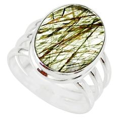 9.65cts natural tourmaline rutile 925 silver solitaire ring size 7.5 r85271