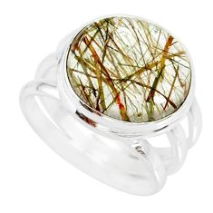12.31cts natural tourmaline rutile 925 silver solitaire ring size 6.5 r85303