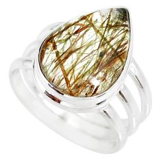 10.33cts natural tourmaline rutile 925 silver solitaire ring size 8.5 r85305