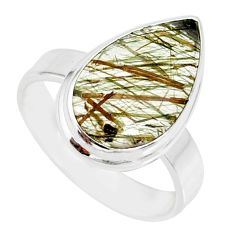 8.92cts natural tourmaline rutile 925 silver solitaire ring size 8.5 r85309