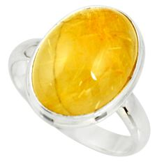 13.41cts natural tourmaline rutile 925 silver solitaire ring size 11 r26237