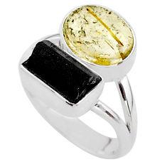 9.04cts natural tourmaline rutile tourmaline raw 925 silver ring size 7 t48915