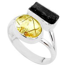 9.29cts natural tourmaline rutile tourmaline raw 925 silver ring size 8 t48901