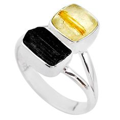 8.49cts natural tourmaline rutile tourmaline raw 925 silver ring size 8 t48905