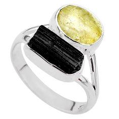 9.56cts natural tourmaline rutile tourmaline raw 925 silver ring size 9 t48906