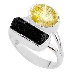 9.47cts natural tourmaline rutile tourmaline raw 925 silver ring size 9 t48909