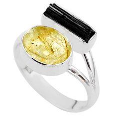 8.91cts natural tourmaline rutile tourmaline raw silver ring size 8.5 t48903