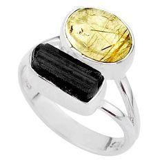 9.23cts natural tourmaline rutile tourmaline raw silver ring size 7.5 t48911