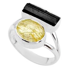 8.51cts natural tourmaline rutile tourmaline raw silver ring size 7.5 t48913