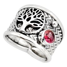 0.82cts natural tourmaline silver tree of life solitaire ring size 7.5 d45881
