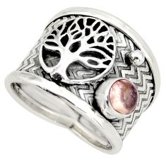 0.99cts natural tourmaline silver tree of life solitaire ring size 6.5 d45943