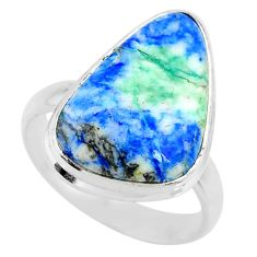 10.85cts natural turquoise azurite 925 silver solitaire ring size 8.5 r72328
