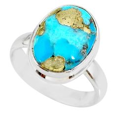 6.48cts natural turquoise pyrite 925 silver solitaire ring size 7 r78242