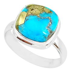 6.30cts natural turquoise pyrite 925 silver solitaire ring size 7 r78275