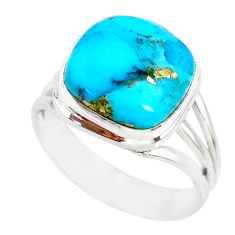 6.49ct natural turquoise pyrite 925 silver solitaire handmade ring size 8 r78285