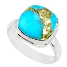 6.58cts natural turquoise pyrite 925 silver solitaire ring size 9 r78268