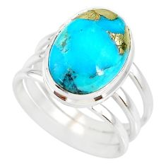 6.48cts natural turquoise pyrite silver solitaire ring size 7.5 r78274