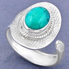 3.59cts natural turquoise tibetan 925 silver adjustable ring size 9.5 r63308