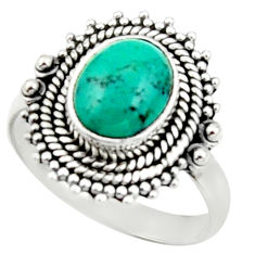 4.35cts natural turquoise tibetan 925 silver solitaire ring size 8.5 r52642