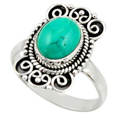 4.08cts natural turquoise tibetan 925 silver solitaire ring size 8.5 r52649