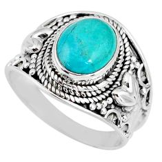 4.28cts natural turquoise tibetan 925 silver solitaire ring size 8.5 r58318